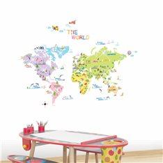 Sticker carte du monde pour enfants + 30 Swarovski Elements
