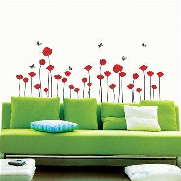 Sticker Fleurs coquelicots rouges - stickers fleurs & stickers muraux - fanastick.com