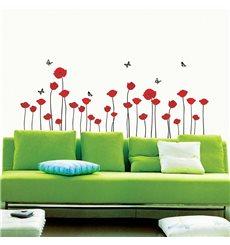 Sticker Fleurs coquelicots rouges