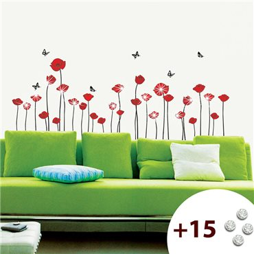 Sticker Fleurs coquelicots rouges +15 cristaux Swarovski - stickers swarovski® elements & stickers muraux - fanastick.com