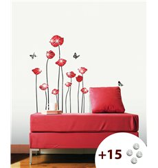Sticker Fleurs coquelicots rouges +15 cristaux Swarovski
