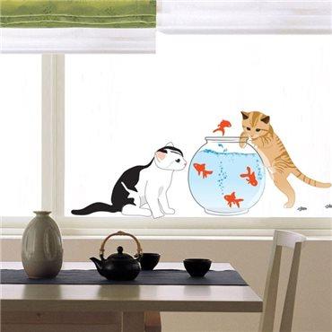 Sticker Chat et poissons - stickers animaux enfant & stickers enfant - fanastick.com