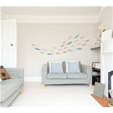 Sticker banc de poissons multicolores