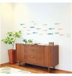 Sticker banc de poissons multicolores