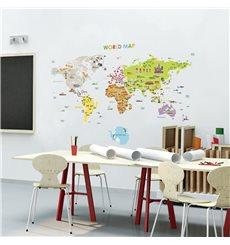 Sticker carte du monde géante pour enfants