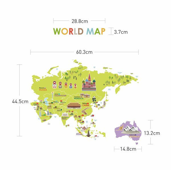sticker carte du monde g ante pour enfants stickers carte du monde stickers muraux. Black Bedroom Furniture Sets. Home Design Ideas