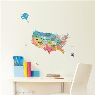 Sticker enfant carte des Etats-Unis - stickers chambre enfant & stickers enfant - fanastick.com
