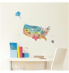 Sticker enfant carte des Etats-Unis