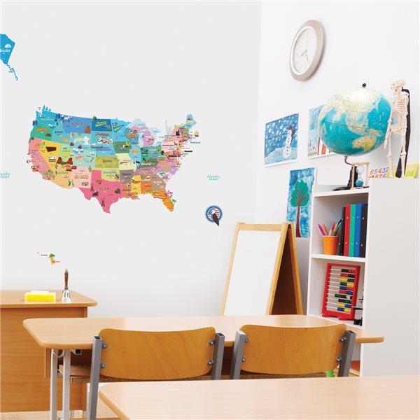 sticker enfant carte des etats unis stickers chambre. Black Bedroom Furniture Sets. Home Design Ideas
