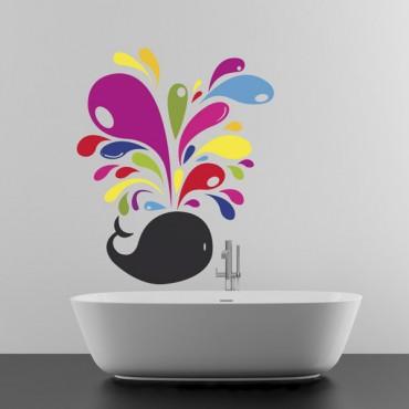 Sticker Baleine multicolore - stickers salle de bain & stickers muraux - fanastick.com