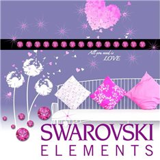 Sticker 15 Cristaux adhésifs 3mm SWAROVSKI® ELEMENTS - couleur Fuchsia