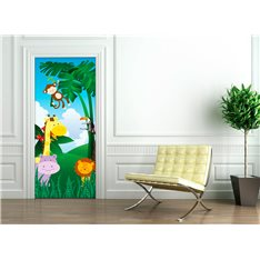 Sticker porte 204 x 83 cm - Animaux de la jungle
