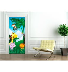 Sticker porte 204 x 83 cm - Animaux de la jungle