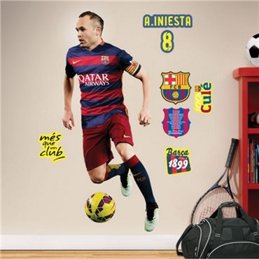 Sticker FC Barcelone - Iniesta 120cm® - stickers foot & stickers muraux - fanastick.com