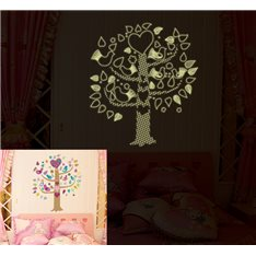 Sticker phosphorescent arbre et oiseaux multicolore