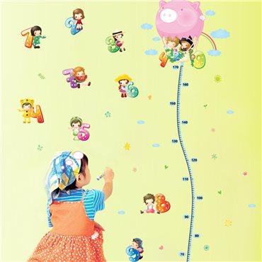 Sticker toise Enfants avec Montgolfière - stickers toise & stickers enfant - fanastick.com