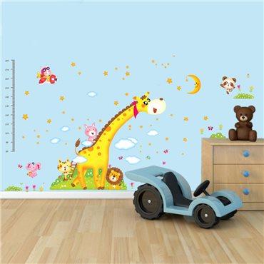 Sticker toise Girafe et les animaux d'Afrique - stickers toise & stickers enfant - fanastick.com