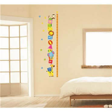 Sticker toise animaux et étoiles - stickers toise & stickers enfant - fanastick.com