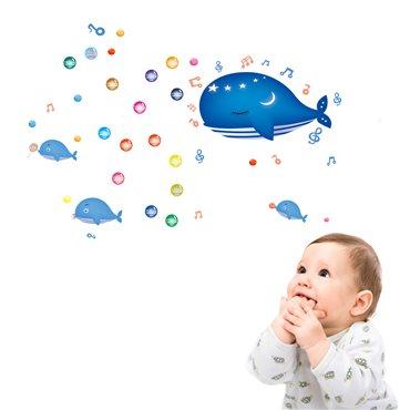 Sticker avec bulles et baleines - stickers animaux enfant & stickers enfant - fanastick.com