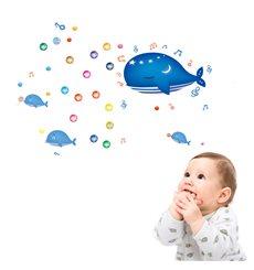 Sticker avec bulles et baleines