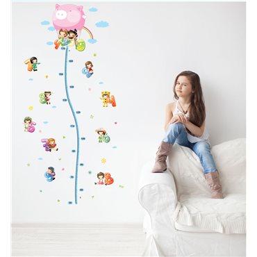Sticker toise Montgolfière avec petits enfants - stickers toise & stickers enfant - fanastick.com