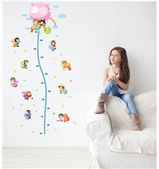 Sticker toise Montgolfière avec petits enfants
