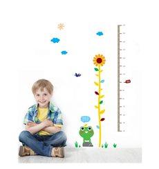 Sticker  toise grenouille, fleur et oiseaux