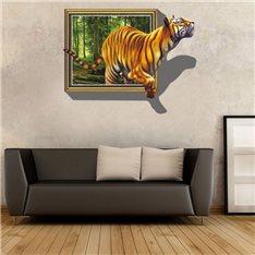 Sticker 3D tigre sortant de la toile