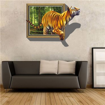 Sticker 3D tigre sortant de la toile - stickers 3d & stickers muraux - fanastick.com