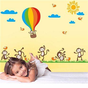 Sticker  Singes, oiseaux et Montgolfière - stickers animaux enfant & stickers enfant - fanastick.com