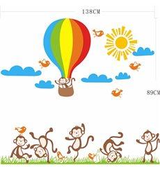 Sticker  Singes, oiseaux et Montgolfière