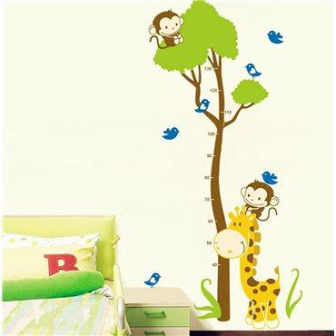 Sticker toise arbre et singe - stickers toise & stickers enfant - fanastick.com
