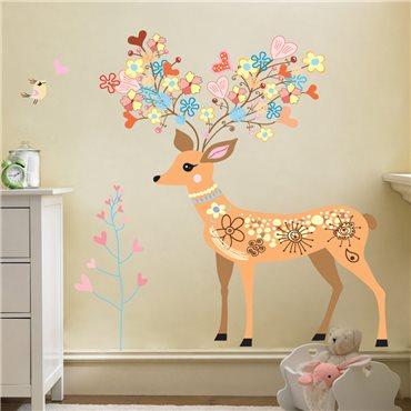 Sticker  Biche, fleurs et oiseaux - stickers chambre enfant & stickers enfant - fanastick.com