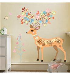 Sticker  Biche, fleurs et oiseaux