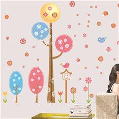 Sticker arbres designs arrondis et fleurs