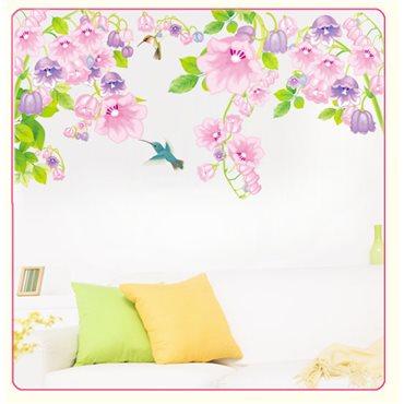 Sticker oiseaux et fleurs violettes - stickers chambre enfant & stickers enfant - fanastick.com