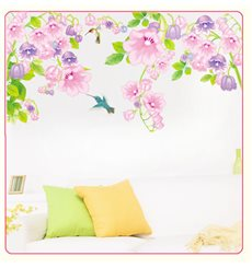 Sticker oiseaux et fleurs violettes