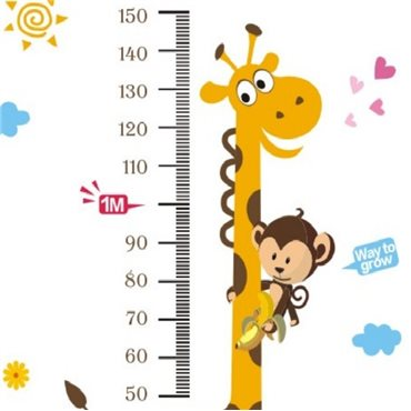 Sticker toise girafe et singe - stickers toise & stickers enfant - fanastick.com