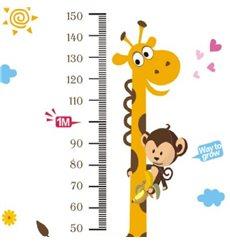 Sticker toise girafe et singe