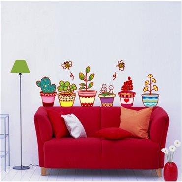 Sticker pots de fleurs et cactus - stickers fleurs & stickers muraux - fanastick.com