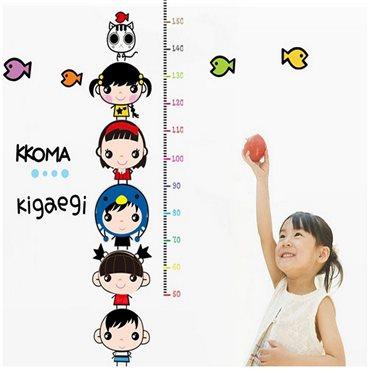 Sticker toise enfants et poissons - stickers toise & stickers enfant - fanastick.com