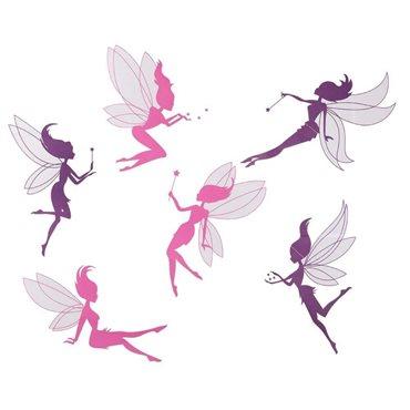 Sticker Set de 6 Fées violet et rose - stickers chambre fille & stickers enfant - fanastick.com