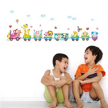Sticker Train avec des animaux rigolos - stickers animaux enfant & stickers enfant - fanastick.com