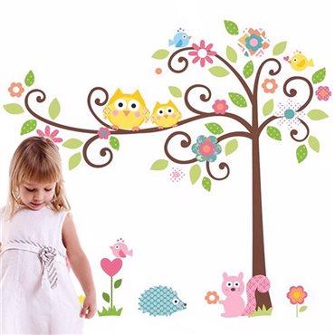 Sticker hiboux et oiseux sur un arbre - stickers enfants & stickers enfant - fanastick.com