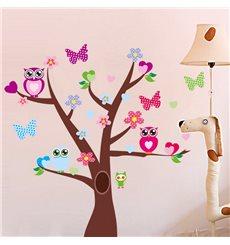 Sticker hiboux et papillons sur un arbre