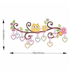 Sticker hiboux et cœurs sur un arbre