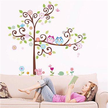 Sticker Hiboux sur arbre en fleurs - stickers chambre fille & stickers enfant - fanastick.com