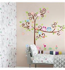Sticker Hiboux sur arbre en fleurs