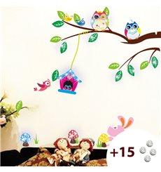 Sticker hiboux et cage oiseau sur un arbre +15 cristaux Swarovski