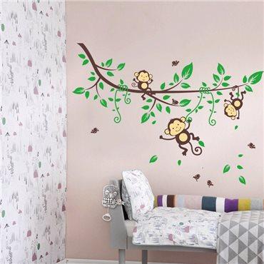 Sticker Singes sur branche fleurie - stickers animaux enfant & stickers enfant - fanastick.com